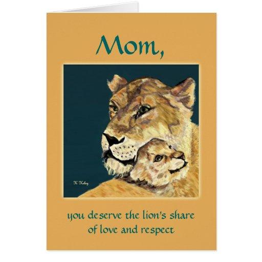 Tarjeta de la leona y de Cub del día de madre