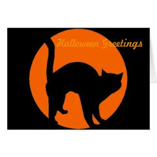 Tarjeta de la linterna de Jack o del gato negro
