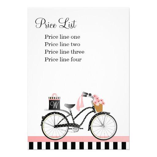 Tarjeta de la lista de precios de la bicicleta del