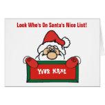 Tarjeta de la lista de Santa adaptable Niza