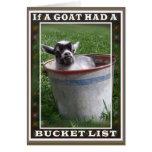 Tarjeta de la lista del cubo de la cabra
