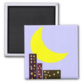 tarjeta de la luna de la ciudad de la noche imán cuadrado