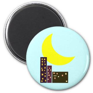 tarjeta de la luna de la ciudad de la noche imán redondo 5 cm