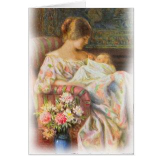 Tarjeta de la madre y del bebé del vintage