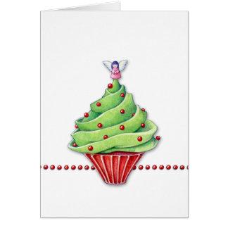 Tarjeta de la magdalena del árbol de navidad