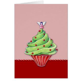 Tarjeta de la magdalena red2 del árbol de navidad