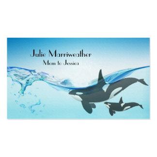 Tarjeta de la mamá de la ballena de la orca de la  tarjetas de visita
