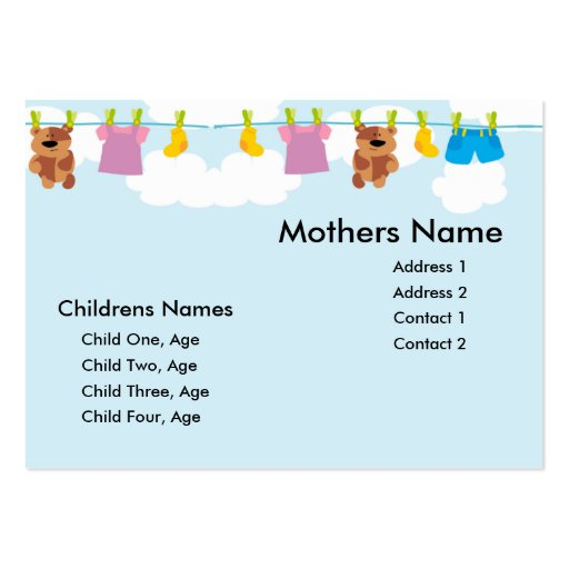 Tarjeta de la mamá de la cuerda para tender la rop tarjeta de visita