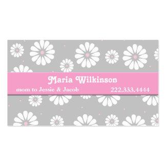 Tarjeta de la mamá de la margarita rosada, gris, y tarjetas de visita