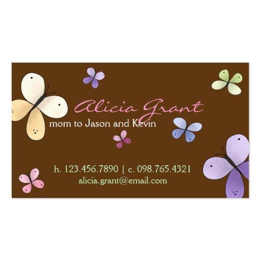 Tarjeta de la mamá de la mariposa tarjetas de visita