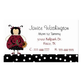 Tarjeta de la mamá de la mariquita tarjetas de visita