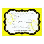 Tarjeta de la marfil B RSVP (amarillo) de Kurli-Q Invitación 8,9 X 12,7 Cm