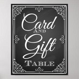 Tarjeta de la muestra del boda y tabla del regalo impresiones