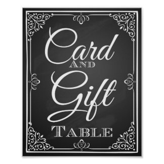 Tarjeta de la muestra del boda y tabla del regalo póster