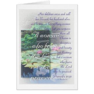 Tarjeta de la mujer de los proverbios 31
