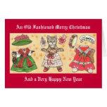 Tarjeta de la muñeca del papel del gato del navida