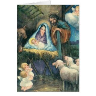 Tarjeta de la natividad de la era del Victorian