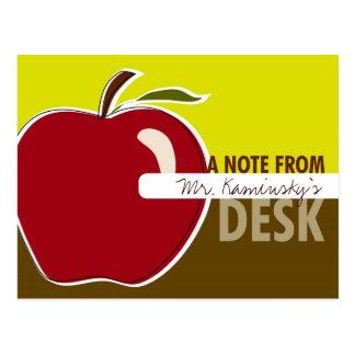 Tarjeta de la nota del profesor postal