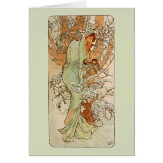 Tarjeta de la nota o de felicitación del invierno