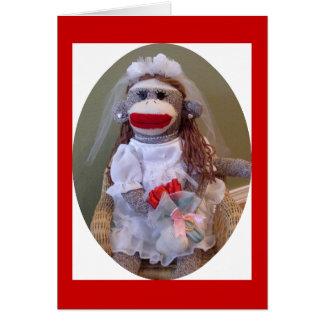Tarjeta de la novia del boda del mono del calcetín