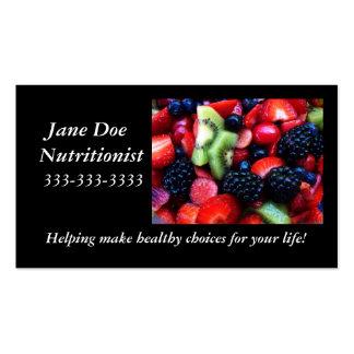Tarjeta de la nutrición de la fruta tarjetas de visita