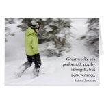 Tarjeta de la perseverencia de Snowshoeing