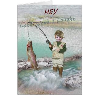 Tarjeta de la pesca de la trucha