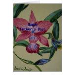 Tarjeta de la pintura de la flor del rosa del día