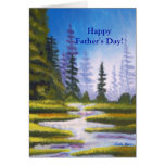 Tarjeta de la pintura del bosque del pino del día
