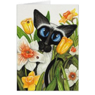 Tarjeta de la primavera de Pascua del gato siamés
