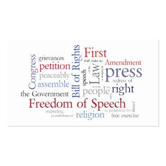 Tarjeta de la Primera Enmienda para el periodista, Tarjetas De Visita