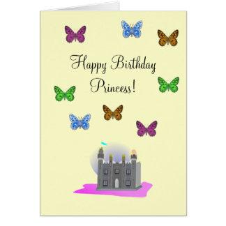 Tarjeta de la princesa cumpleaños de la mariposa