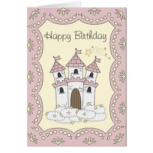 Tarjeta de la princesa cumpleaños del castillo del