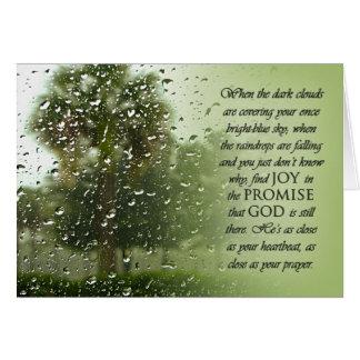 Tarjeta de la promesa del día lluvioso