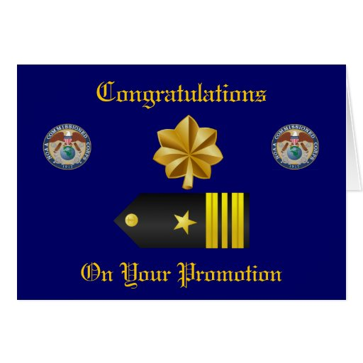 Tarjeta de la promoción del teniente comandante de