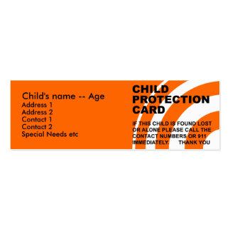 Tarjeta de la protección del niño tarjetas de visita