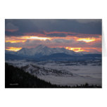 Tarjeta de la puesta del sol de la montaña de Colo
