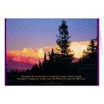 Tarjeta de la puesta del sol del rezo de la sereni
