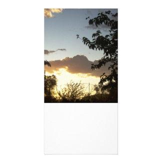 Tarjeta de la puesta del sol tarjetas fotográficas personalizadas