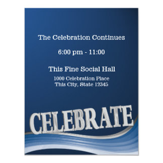 """Tarjeta de la recepción de la celebración de la invitación 4.25"""" x 5.5"""""""