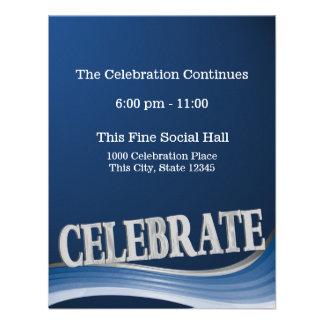 Tarjeta de la recepción de la celebración de la on invitacion personal