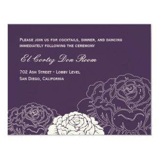 Tarjeta de la recepción de la rosaleda - púrpura invitación 10,8 x 13,9 cm