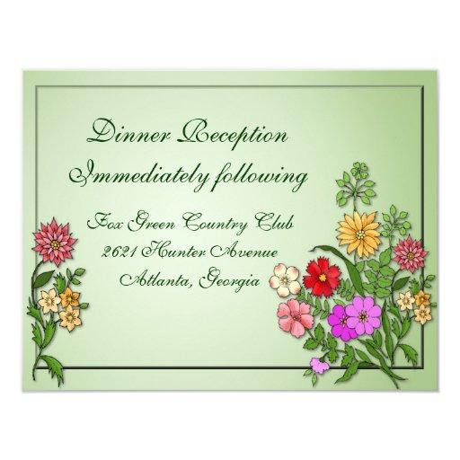 Tarjeta de la recepción de los Wildflowers Invitación 10,8 X 13,9 Cm