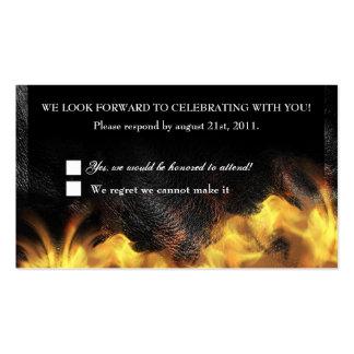 Tarjeta de la recepción de RSVP del cuero y del mo Plantillas De Tarjetas Personales