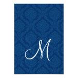 Tarjeta de la recepción del damasco de los azules anuncio personalizado