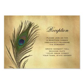 """Tarjeta de la recepción Info de la pluma del pavo Invitación 3.5"""" X 5"""""""