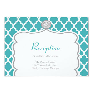 """Tarjeta de la recepción nupcial de la turquesa de invitación 3.5"""" x 5"""""""