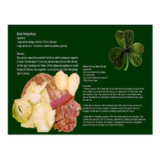 Tarjeta de la receta de la carne de vaca y de la postal