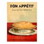 Tarjeta de la receta de la empanada de Appetit del Tarjeta Postal