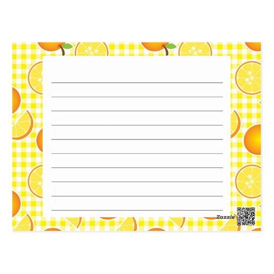 Tarjeta de la receta de la fruta cítrica postal